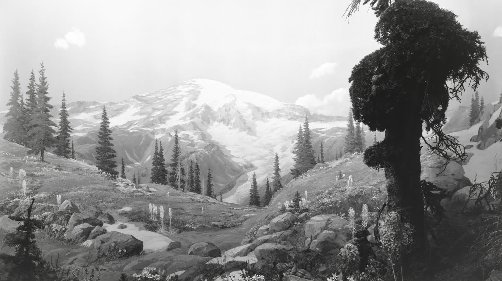 Black and white photograph of a mountainous landscape.