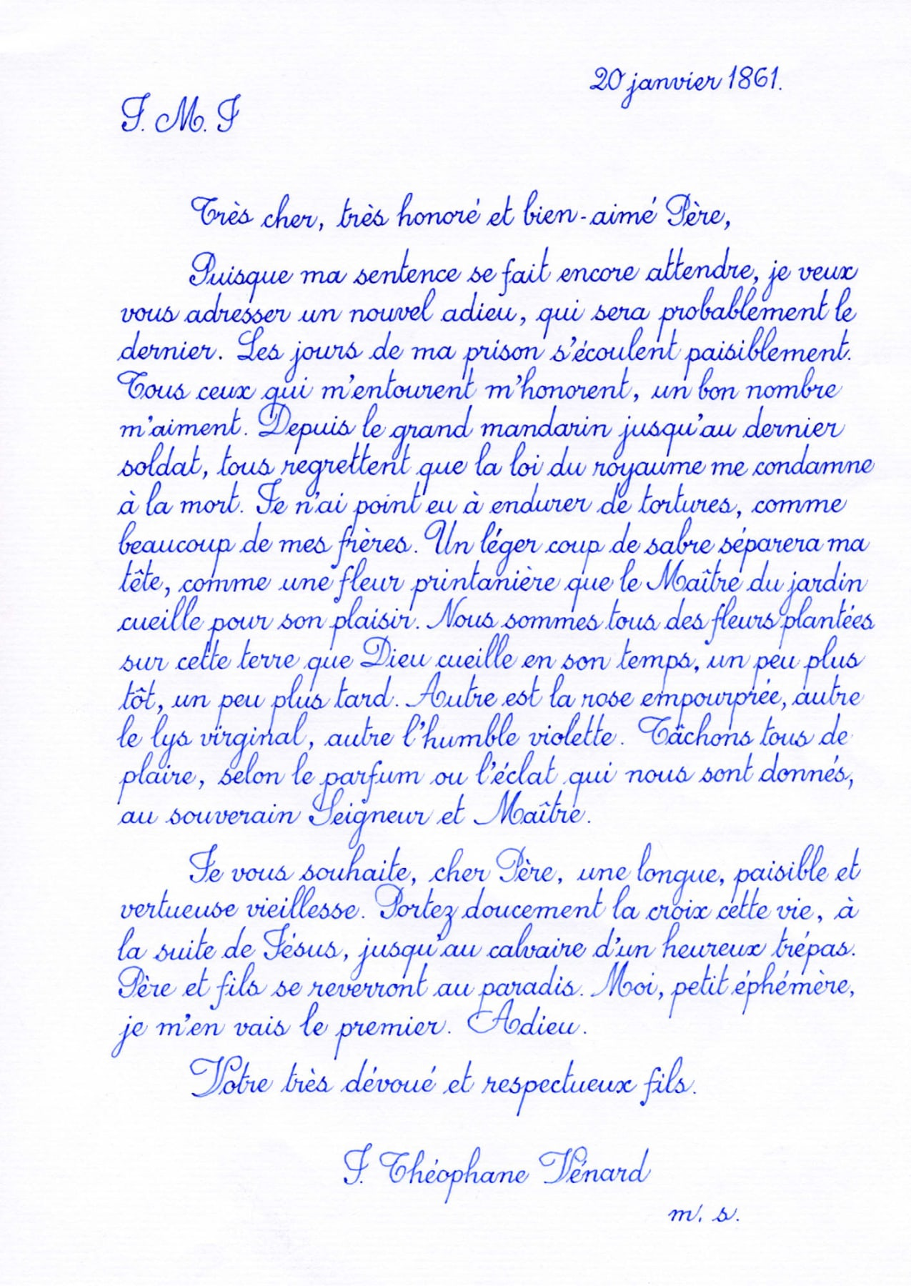 A handwritten letter of two paragraphs, addressed to J. Theophane Vernard, written with blue ink in cursive.