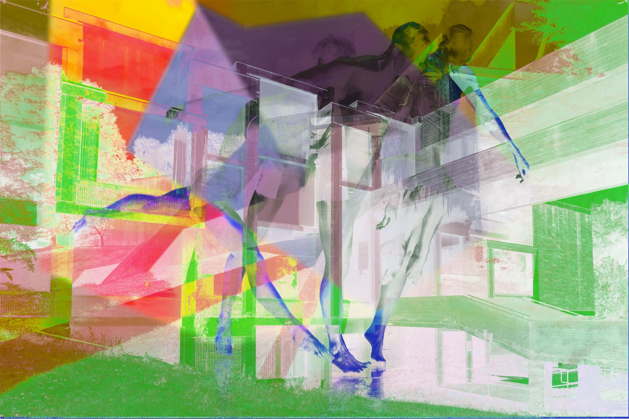 A multicolor photo collage with architectural and figurative elements.