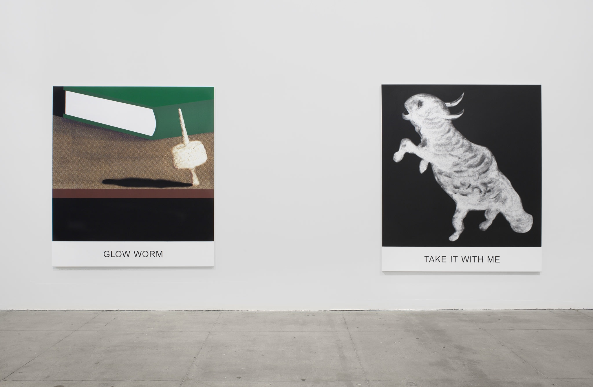 Two prints on canvas: 1-a green book behind an impaled marshmallow, 2-a white hybrid animal