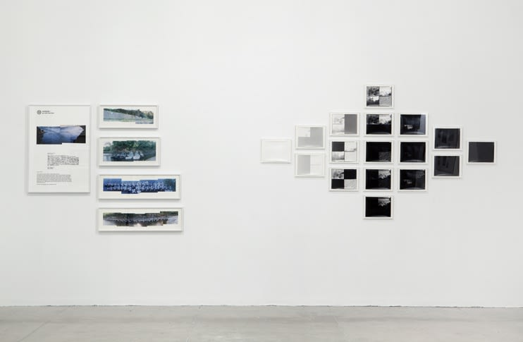 Two large photographic installations combine image and text.