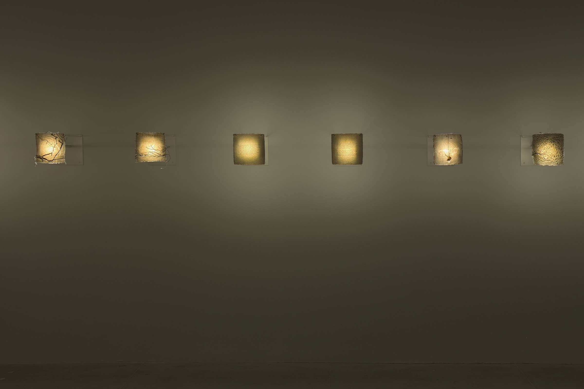 Six small projectors behind various fabrics and papers warmly illuminate a dimly lit room.