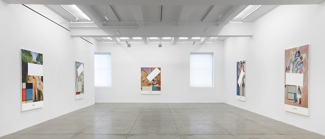 5 large paintings with figures and geometric shapes hang on 3 walls of a gallery space. There are 2 windows on the far wall.