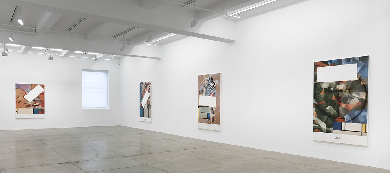 4 large colorful paintings with text and geometric shapes hang in a white gallery space.