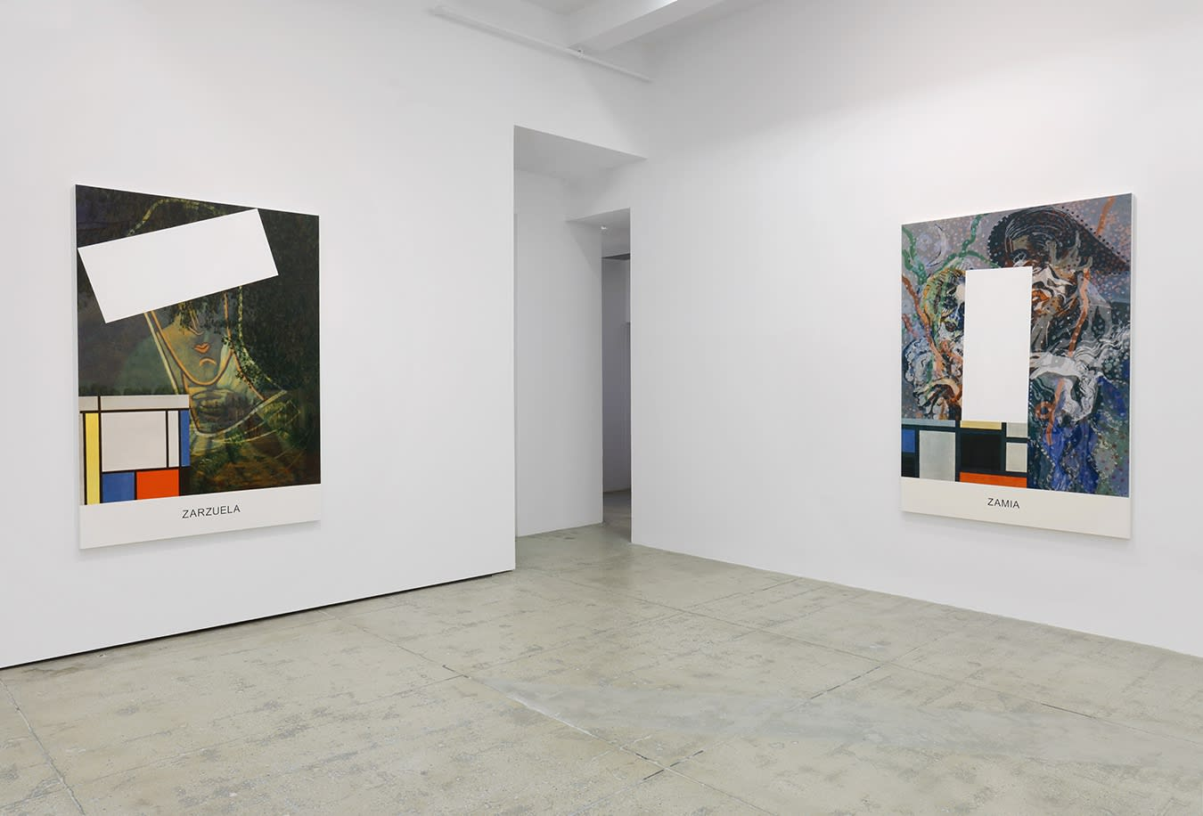 2 large colorful paintings with text and geometric shapes hang in a white gallery space.