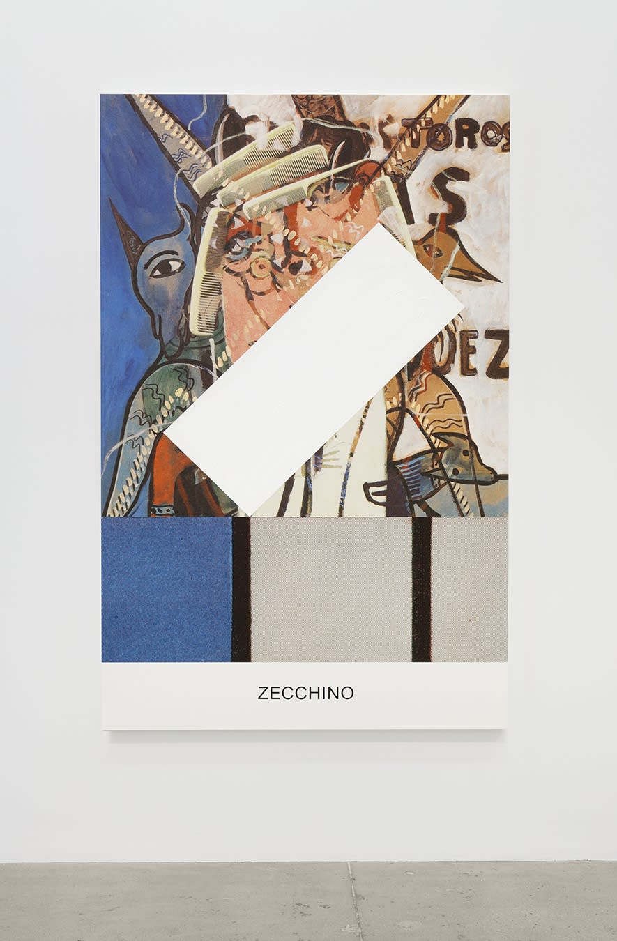"""Primarily blue and white painting including the abstracted human and animal forms. A white box is placed diagonally across the frame. The word """"ZECCHINO"""" is at the bottom of the painting."""