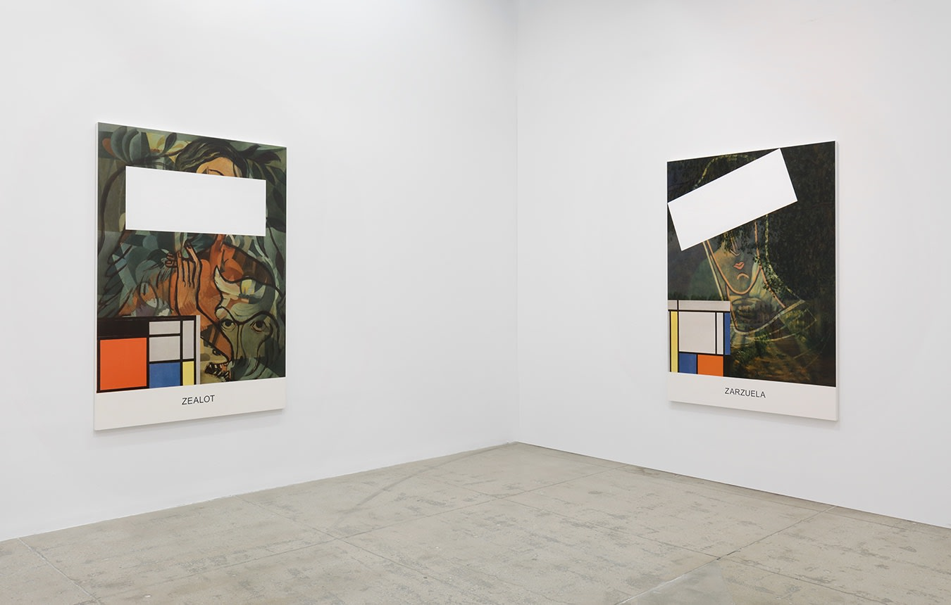 Two paintings hang in the corner of the gallery. Both have small Mondrian-like images in the lower quadrant and figures overlapping landscapes in the background.