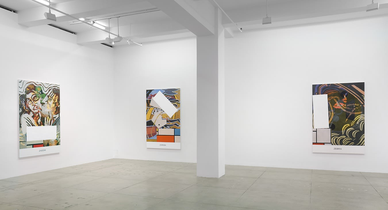 """3 paintings in gallery. Each has aspects of abstract figuration and white boxes interrupting the scene. From right to left on the bottom they read, """"ZADDIK"""", """"ZAREBA"""", and """"ZEBRA"""""""