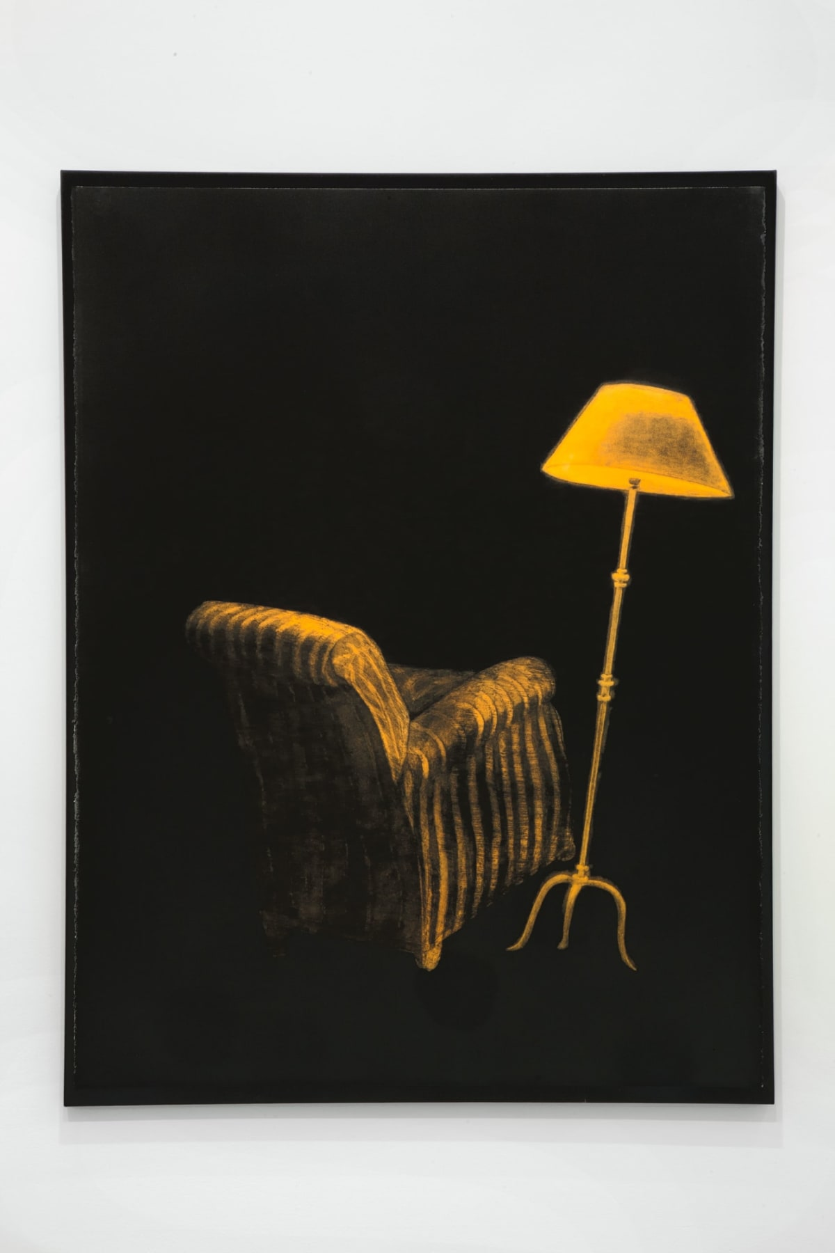 Painting of yellow arm chair and yellow lamp in a black background