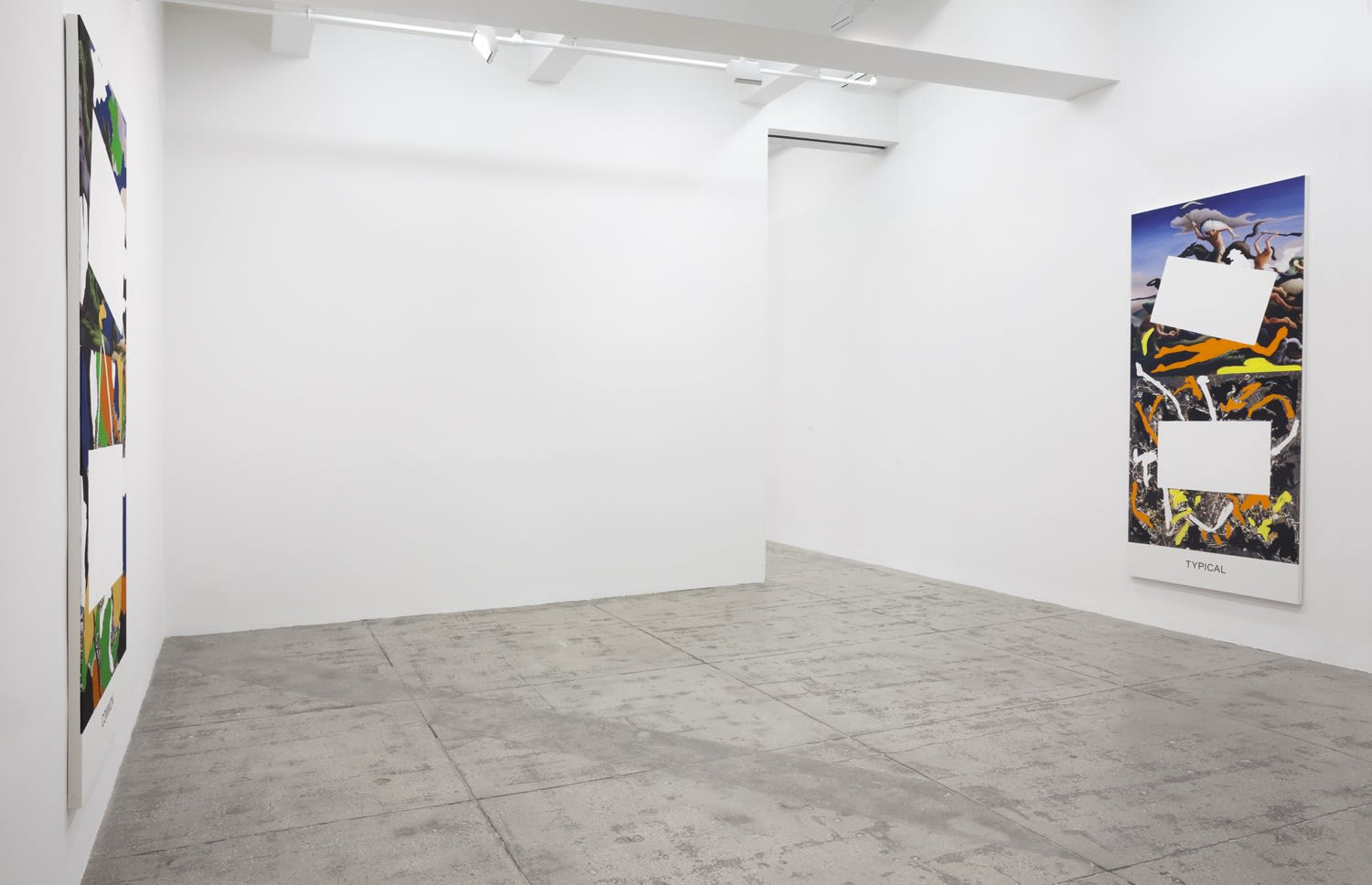 2 paintings partially covered with white rectangles hanging in a gallery space.