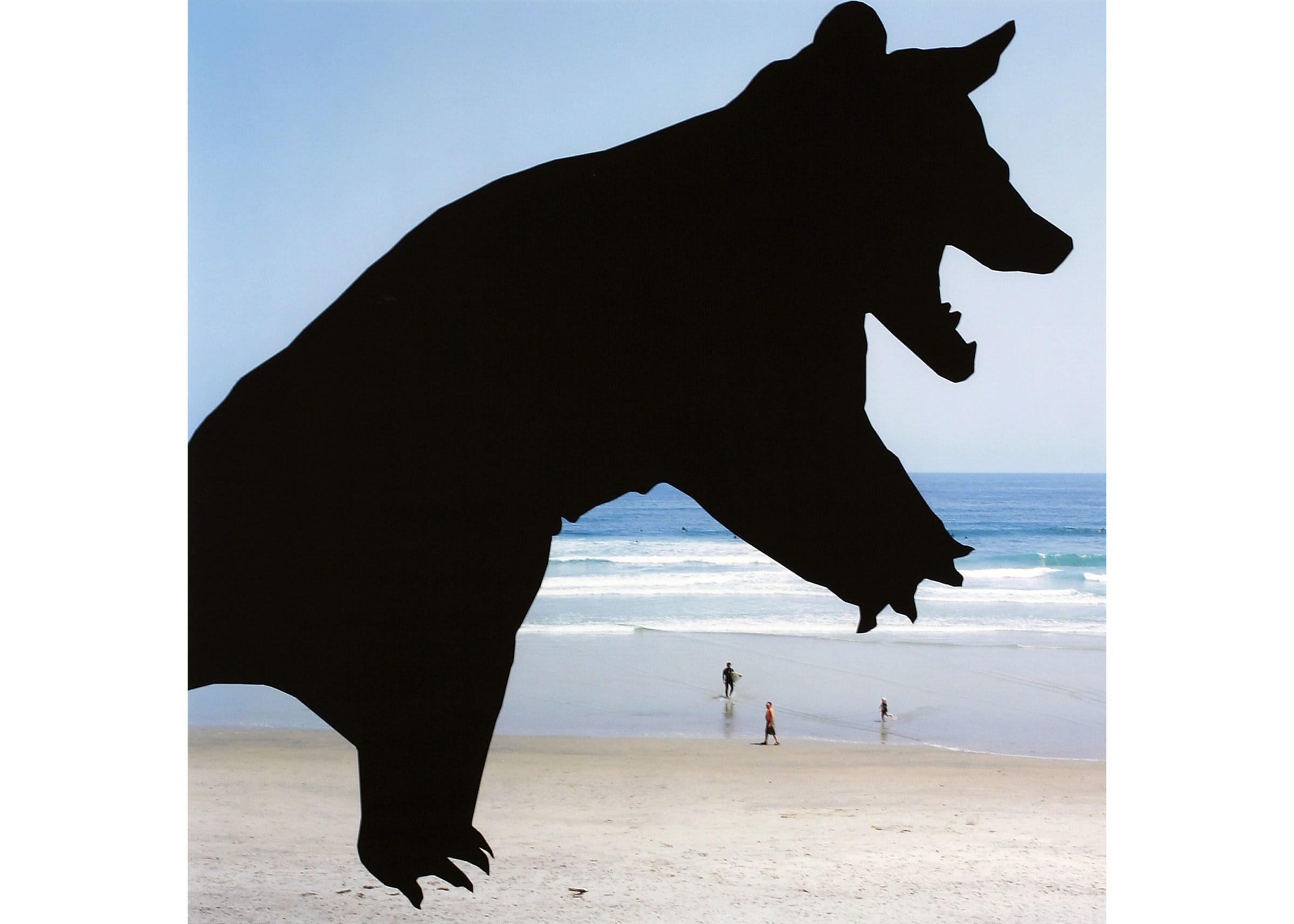 Cartoonish bear silhouette collaged over beach scene