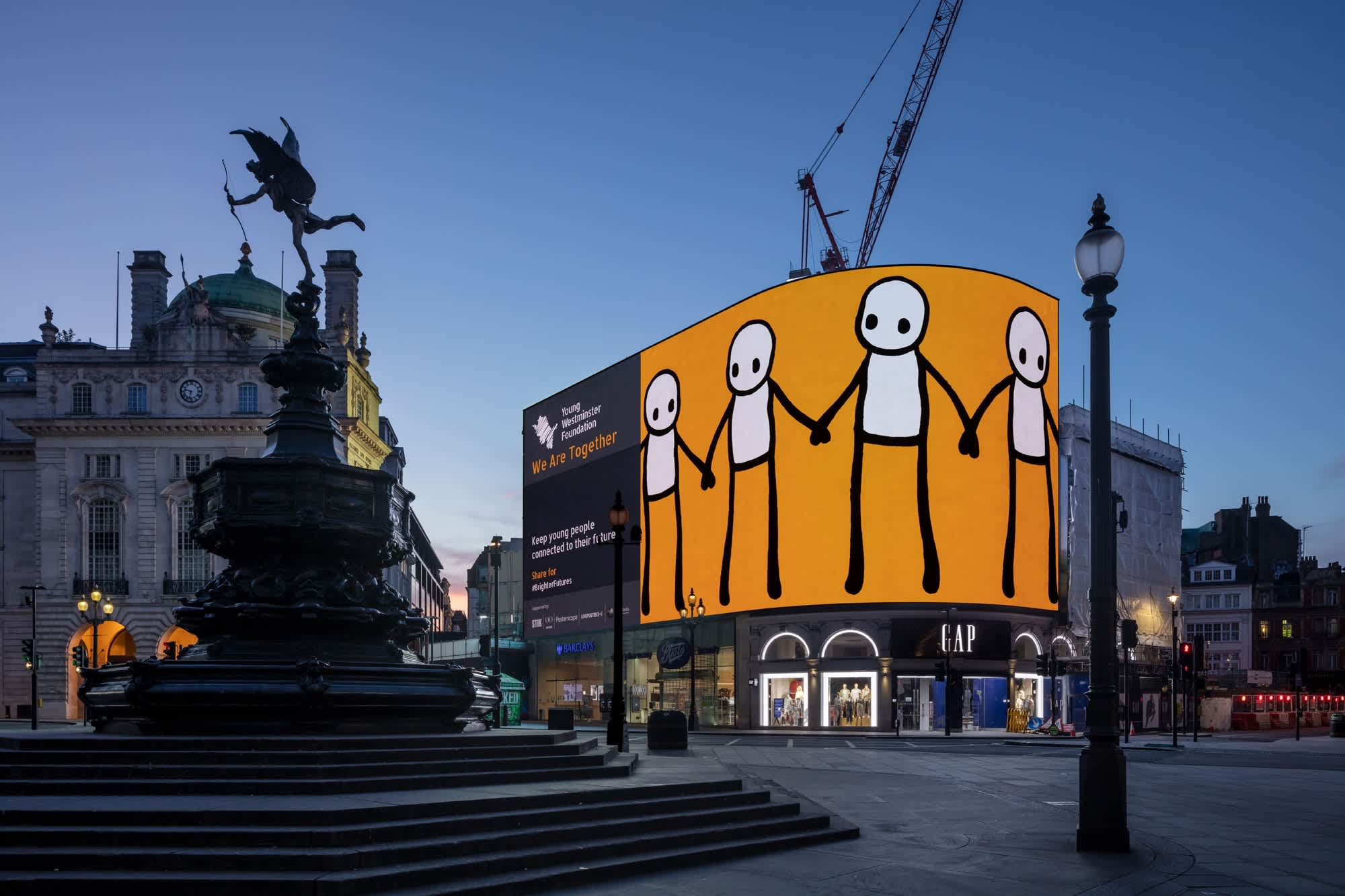 STIK Brightens up Piccadilly Circus To Raise Money For Charity