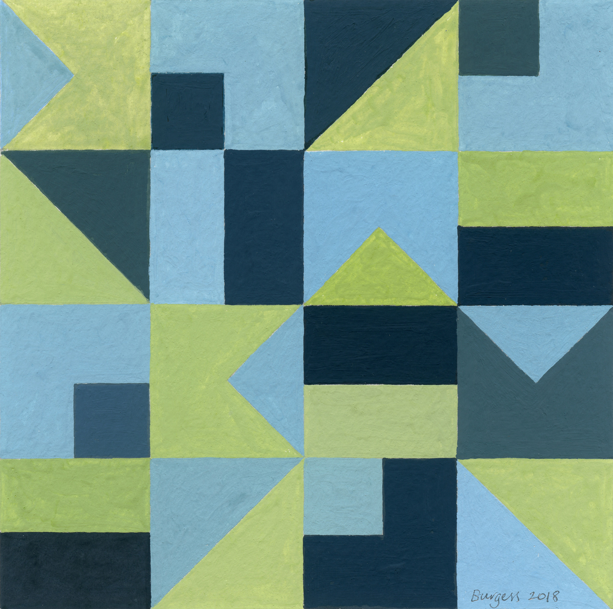 """<span class=""""link fancybox-details-link""""><a href=""""/exhibitions/8/works/artworks2551/"""">View Detail Page</a></span><div class=""""artist""""><strong>Andy Burgess</strong></div><div class=""""title""""><em>Abstract Study III</em>, 2018</div><div class=""""signed_and_dated"""">Signed, dated</div><div class=""""medium"""">Gouache on Paper</div><div class=""""dimensions"""">12.7 x 12.7 cm<br>5 x 5 in.</div>"""