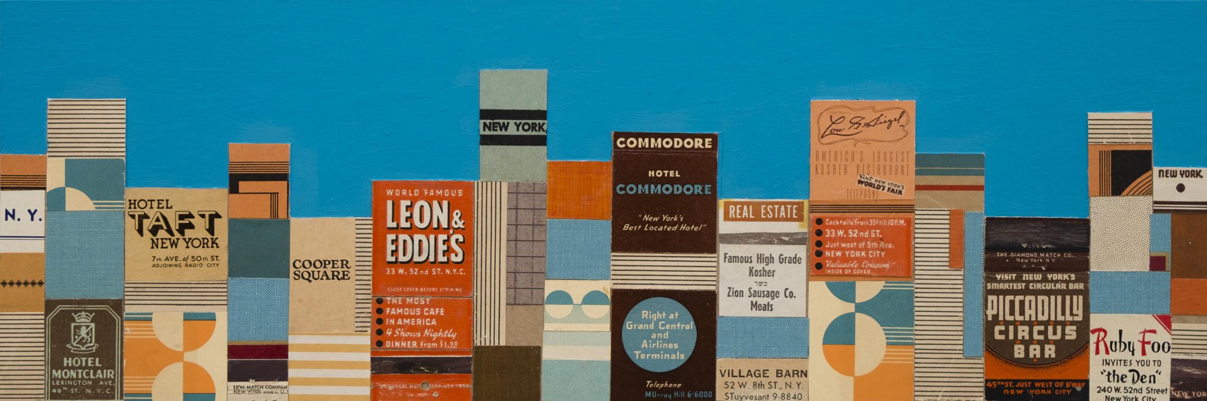 "<span class=""link fancybox-details-link""><a href=""/exhibitions/11/works/artworks1560/"">View Detail Page</a></span><div class=""artist""><strong>Andy Burgess</strong></div><div class=""title""><em>Leon & Eddie's, New York</em>, 2017</div><div class=""medium"">vintage matchbook collage, gouache on panel</div><div class=""dimensions"">15.2 x 45.7 cm<br>6 x 18 in.</div>"