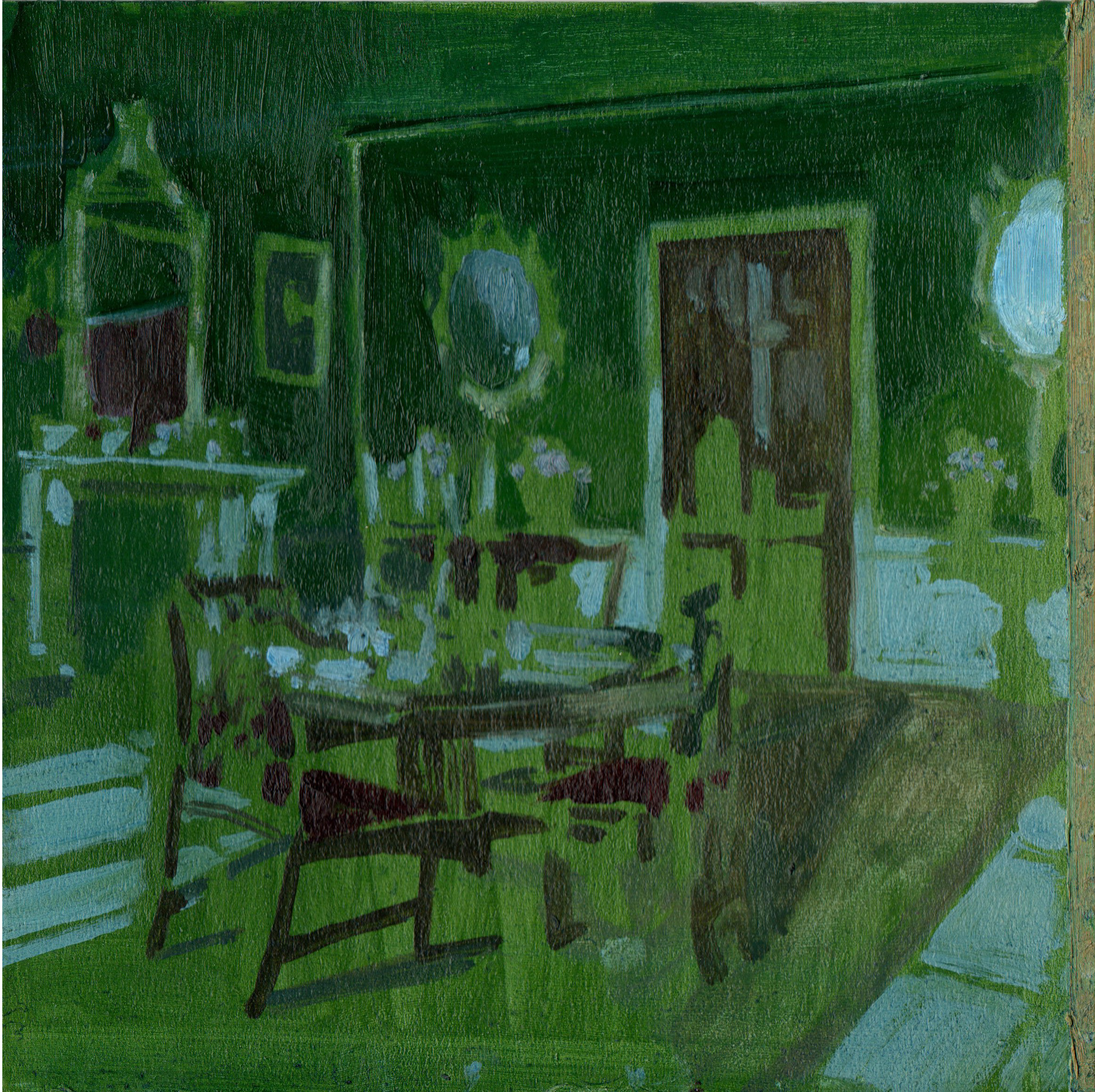 "<span class=""link fancybox-details-link""><a href=""/exhibitions/16/works/artworks2339/"">View Detail Page</a></span><div class=""artist""><strong>Eleanor Watson</strong></div><div class=""title""><em>Green Afternoon</em>, 2018</div><div class=""medium"">Oil on Board</div><div class=""dimensions"">20 x 20 cm<br>7 7/8 x 7 7/8 in.</div>"