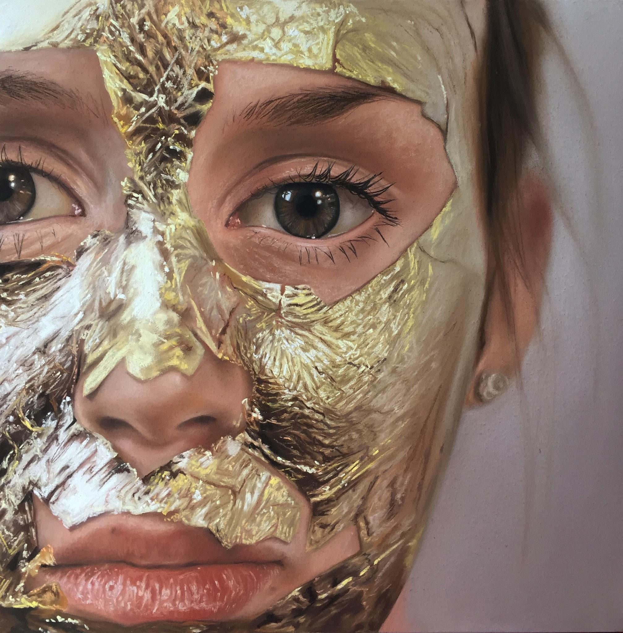 "<span class=""link fancybox-details-link""><a href=""/exhibitions/34/works/artworks1126/"">View Detail Page</a></span><div class=""artist""><strong>Oliver Jones</strong></div><div class=""title""><em>Gold Leaf Face Mask</em>, 2016</div><div class=""medium"">Pastel on Paper</div><div class=""dimensions"">47 x 47 cm<br>18 1/2 x 18 1/2 in.</div>"
