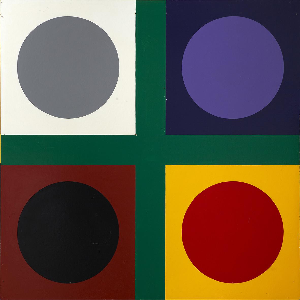 "<span class=""link fancybox-details-link""><a href=""/exhibitions/143/works/artworks11009/"">View Detail Page</a></span><div class=""artist""><strong> Poul Gernes</strong></div><div class=""title""><em>Untitled (tic tac toe painting)</em>, 1967</div><div class=""medium"">enamel paint on masonite</div><div class=""dimensions"">160.0 x 160.0 cm<br>62 15/16 x 62 15/16 in</div>"