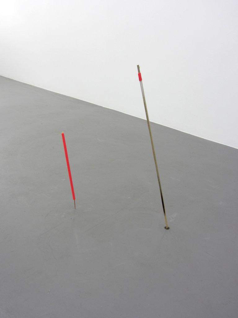"<span class=""link fancybox-details-link""><a href=""/exhibitions/125/works/artworks8709/"">View Detail Page</a></span><div class=""artist""><strong>MARGRÉT H. BLÖNDAL</strong></div><div class=""title""><em>Untitled (watercolour, sticks, cardboard, thread, plastic)</em>, 2012</div><div class=""medium"">mixed media</div><div class=""dimensions"">Longer stick: 95,5 cm long<br>Shorter stick: 52 cm long</div>"