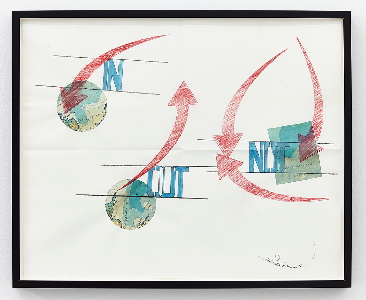 """<span class=""""link fancybox-details-link""""><a href=""""/exhibitions/141/works/artworks10551/"""">View Detail Page</a></span><div class=""""artist""""><strong>LAWRENCE WEINER</strong></div><div class=""""title""""><em>Out</em>, 2014</div><div class=""""signed_and_dated"""">signed</div><div class=""""medium"""">faber-castell pencil, gouache, Icelandic map pasted on folded archival paper</div><div class=""""dimensions"""">paper: 41 x 52cm<br>framed: 44,5 x 54,5 x 3,8cm</div>"""