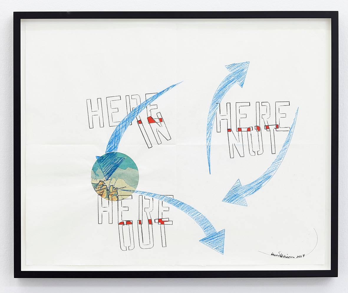 """<span class=""""link fancybox-details-link""""><a href=""""/exhibitions/141/works/artworks10552/"""">View Detail Page</a></span><div class=""""artist""""><strong>LAWRENCE WEINER</strong></div><div class=""""title""""><em>Here Out</em>, 2014</div><div class=""""signed_and_dated"""">signed</div><div class=""""medium"""">faber-castell pencil, gouache, Icelandic map pasted on folded archival paper</div><div class=""""dimensions"""">paper: 41 x 52cm<br>framed: 44,5 x 54,5 x 3,8cm</div>"""