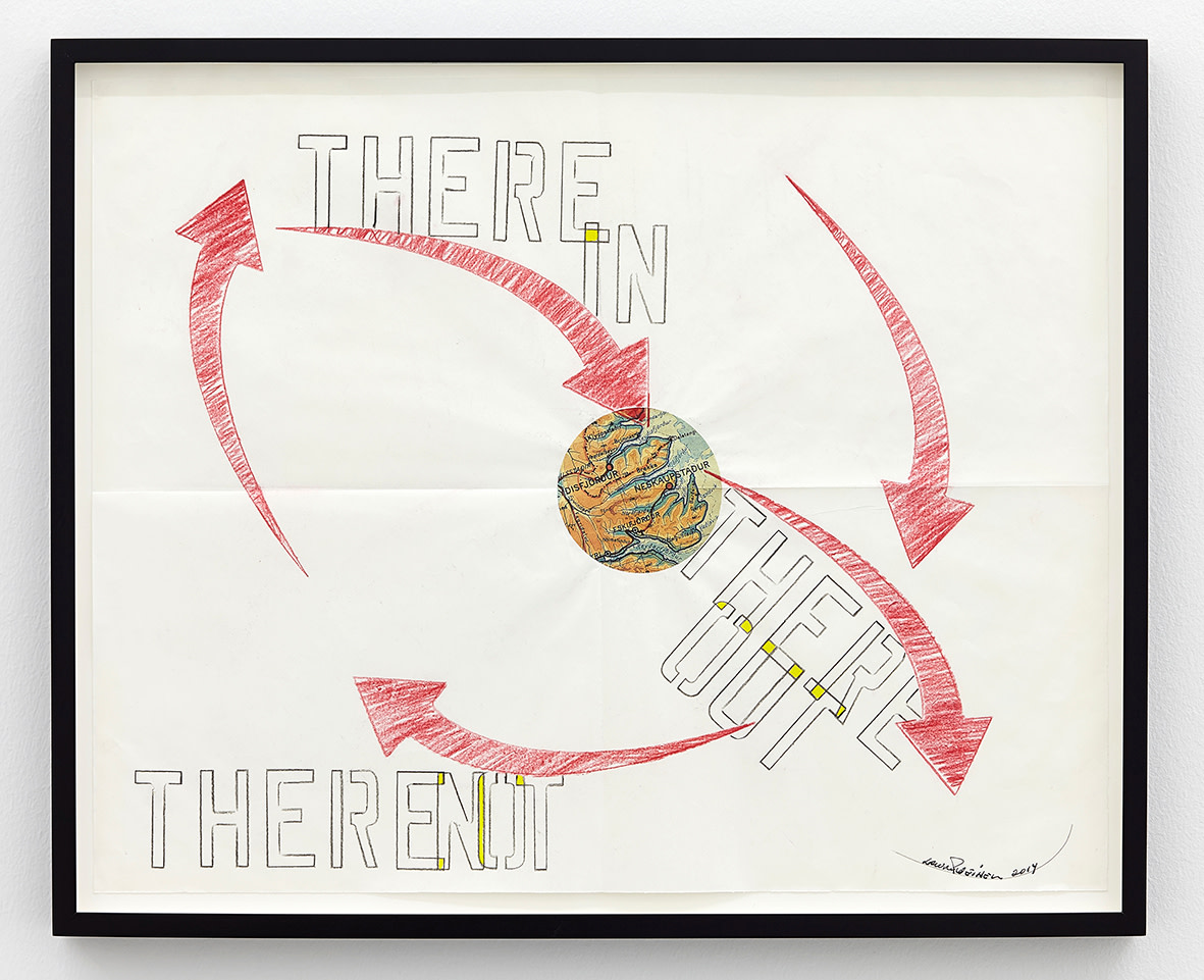 """<span class=""""link fancybox-details-link""""><a href=""""/exhibitions/141/works/artworks10550/"""">View Detail Page</a></span><div class=""""artist""""><strong>LAWRENCE WEINER</strong></div><div class=""""title""""><em>There In</em>, 2014</div><div class=""""signed_and_dated"""">signed</div><div class=""""medium"""">faber-castell pencil, gouache, Icelandic map pasted on folded archival paper</div><div class=""""dimensions"""">paper: 41 x 52cm<br>framed: 44,5 x 54,5 x 3,8cm</div>"""