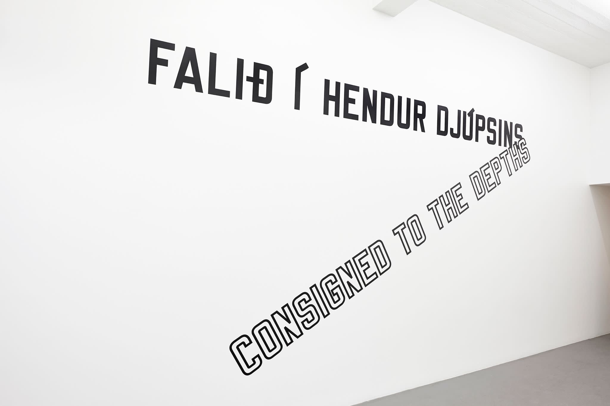 """<span class=""""link fancybox-details-link""""><a href=""""/exhibitions/141/works/artworks10675/"""">View Detail Page</a></span><div class=""""artist""""><strong>LAWRENCE WEINER</strong></div><div class=""""title""""><em>Consigned to the Depths</em>, 2014</div><div class=""""signed_and_dated"""">certificate</div><div class=""""medium"""">language + the materials referred to</div><div class=""""dimensions"""">dimensions variable</div>"""