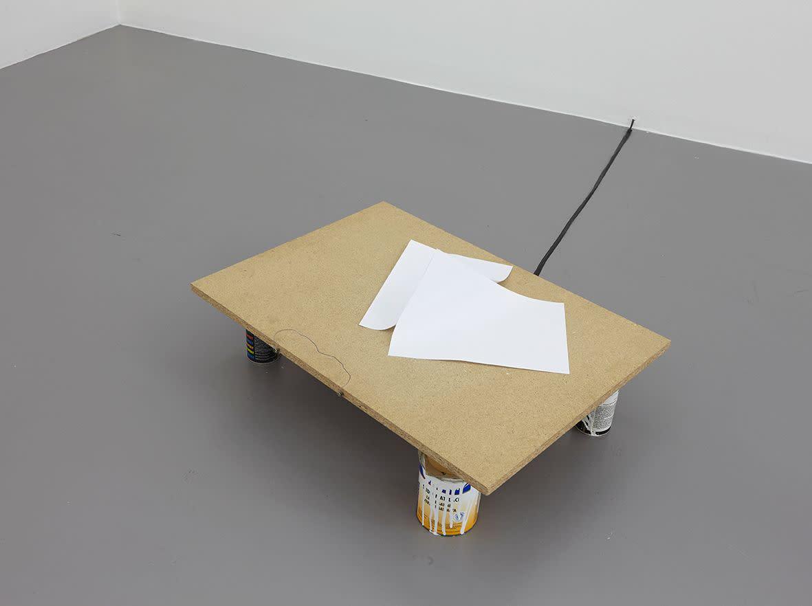 """<span class=""""link fancybox-details-link""""><a href=""""/exhibitions/133/works/artworks9408/"""">View Detail Page</a></span><div class=""""artist""""><strong> Ariel Schlesinger</strong></div><div class=""""title""""><em>L'angoisse de la page blanche</em>, 2007</div><div class=""""medium"""">A4 paper, wood, electric motor</div><div class=""""dimensions"""">65.0 x 55.0 x 20.0 cm<br>25 3/16 x 21 1/4 x 7 5/16 in</div><div class=""""edition_details""""></div>"""