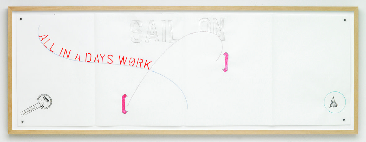 "<span class=""link fancybox-details-link""><a href=""/exhibitions/111/works/artworks5708/"">View Detail Page</a></span><div class=""artist""><strong>LAWRENCE WEINER</strong></div><div class=""title""><em>Sail On - All in a Days Work</em>, 2010</div><div class=""signed_and_dated"">signed front, bottom left</div><div class=""medium"">pencil and mixed media on paper</div><div class=""dimensions"">29.2 x 80.1 cm<br>11 1/2 x 31 1/2 in</div>"