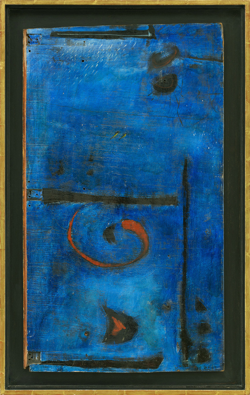 <span class=&#34;link fancybox-details-link&#34;><a href=&#34;/exhibitions/6/works/artworks595/&#34;>View Detail Page</a></span><div class=&#34;signed_and_dated&#34;>signed and dated 1963<br /> titled verso</div> <div class=&#34;medium&#34;>oil on wood (old door)</div> <div class=&#34;dimensions&#34;>85 x 49.5 cms (33.5 x 19.5 ins)<br /> framed: 96.5 x 61 cms (38 x 24 ins)</div>