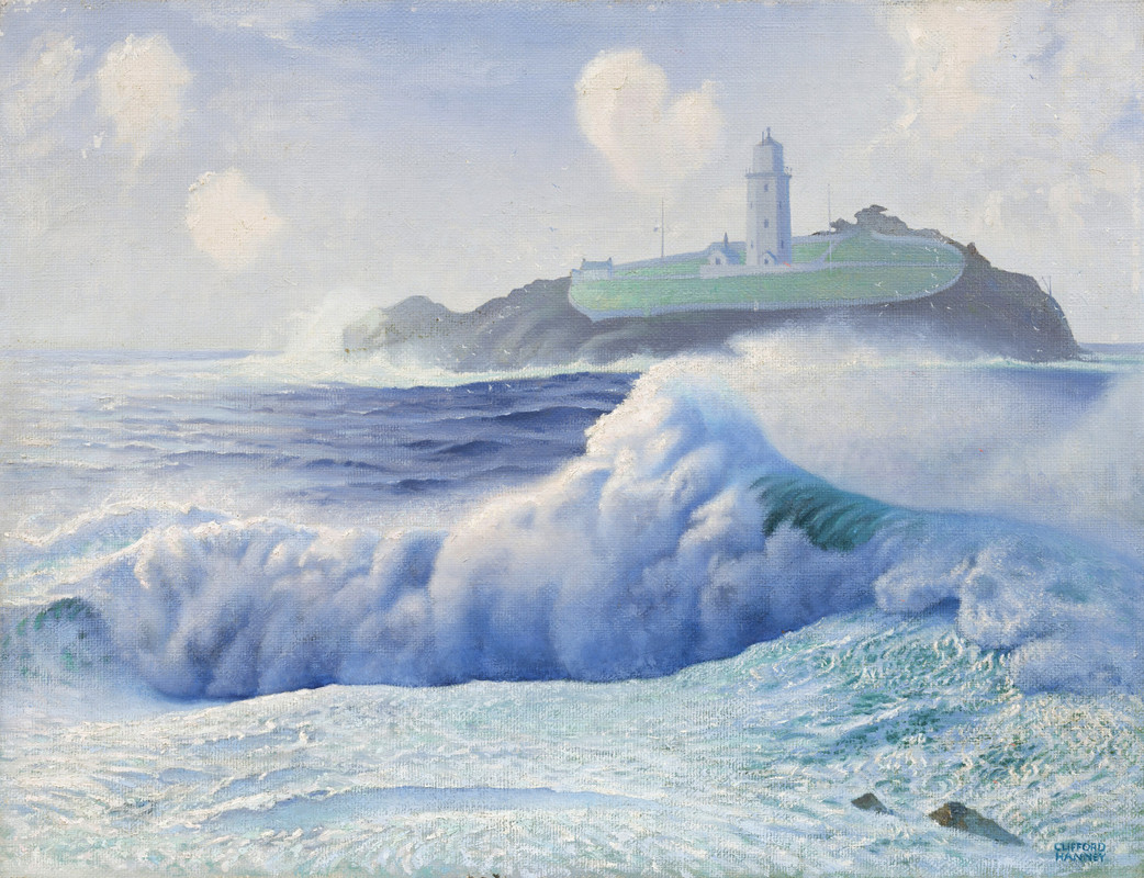 """<span class=""""link fancybox-details-link""""><a href=""""/exhibitions/6/works/artworks233/"""">View Detail Page</a></span><div class=""""artist""""><strong>Clifford Hanney</strong></div> 1890 - 1990<div class=""""title""""><em>Godrevy Lighthouse, St Ives</em></div><div class=""""signed_and_dated"""">signed<br>painted circa 1939</div><div class=""""medium"""">oil on canvas</div><div class=""""dimensions"""">51 x 66 cms (20 x 26 ins)</div>"""
