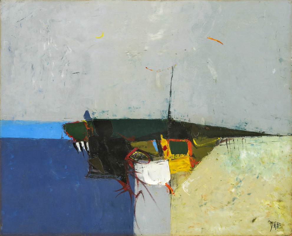 """<span class=""""link fancybox-details-link""""><a href=""""/exhibitions/6/works/artworks464/"""">View Detail Page</a></span><div class=""""signed_and_dated"""">signed with artist's initials<br /> titled and dated May 1954 on stretcher</div> <div class=""""medium"""">oil on card laid on canvas</div> <div class=""""dimensions"""">36 x 44.5 cms (14.25 x 17.5 ins)<br /> framed: 48 x 57 cms (19 x 22 ½ ins)</div>"""