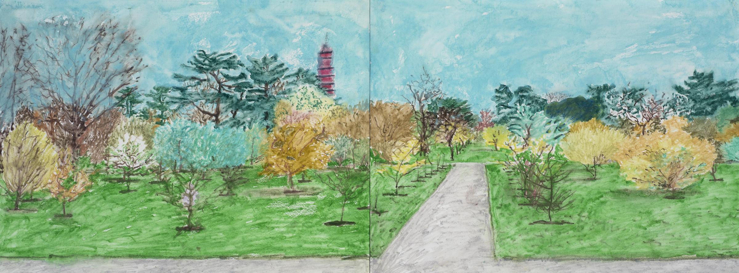 <span class=&#34;link fancybox-details-link&#34;><a href=&#34;/content/viewing-room/29/artworks636/&#34;>View Detail Page</a></span><div class=&#34;artist&#34;><strong>Adrian Berg</strong></div> 1929-2011<div class=&#34;title&#34;><em>Kew Gardens 10th & 11th April </em>, 2001</div><div class=&#34;medium&#34;>Watercolour on paper</div><div class=&#34;dimensions&#34;>31 x 84cm (2 sheets)</div>£ 4,250.00