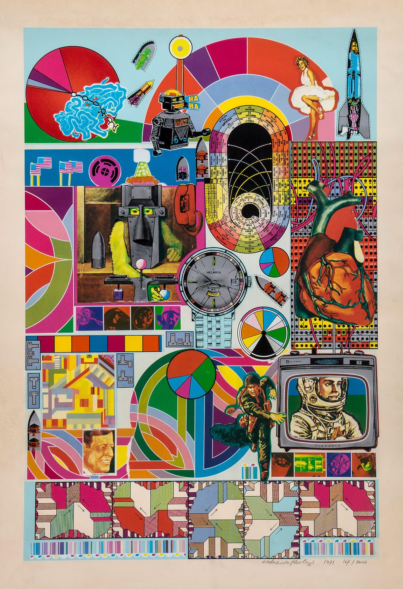 <span class=&#34;link fancybox-details-link&#34;><a href=&#34;/content/viewing-room/29/artworks407/&#34;>View Detail Page</a></span><div class=&#34;artist&#34;><strong>Eduardo Paolozzi</strong></div><div class=&#34;title&#34;><em>B.A.S.H (Blue)</em>, 1971</div><div class=&#34;signed_and_dated&#34;>Stamped Paolozzi Foundation</div><div class=&#34;medium&#34;>Screenprint - AP </div><div class=&#34;dimensions&#34;>84.5 x 59cm</div>£ 1,600.00