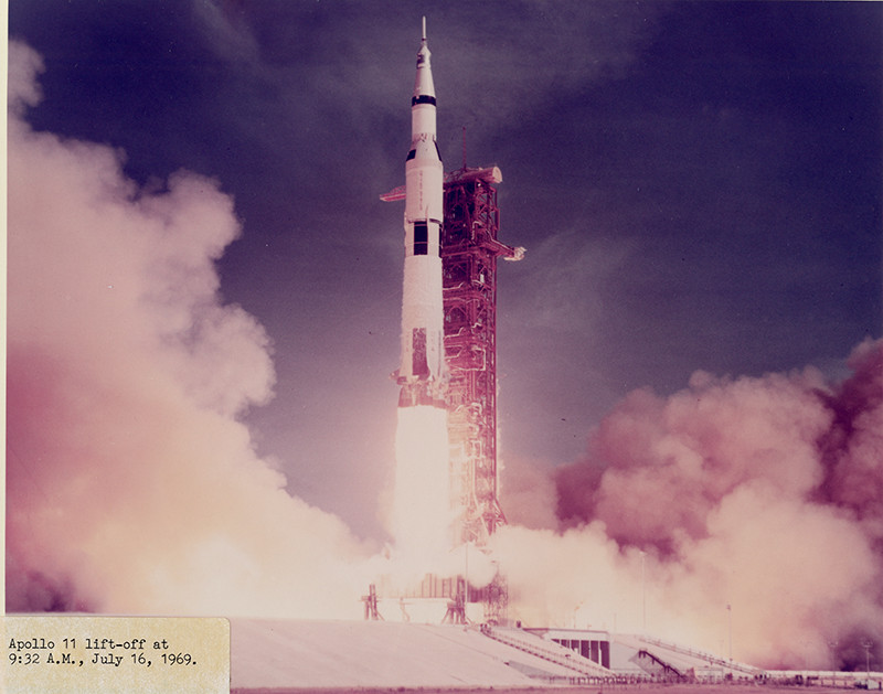 "<span class=""link fancybox-details-link""><a href=""/exhibitions/36/works/artworks34600/"">View Detail Page</a></span><div class=""signed_and_dated"">Captioned ""Apollo 11 lift-off at 9:32 A.M."", in ink, on label, adhered, au recto<br /> Printed circa 1970 from official NASA copy negative</div> <div class=""medium"">Chromogenic print</div> <div class=""dimensions"">7 ½ x 9 ½ inch (19.05 x 24.13 cm) image<br /> 8 x 10 inch (20.32 x 25.40 cm) paper</div>"