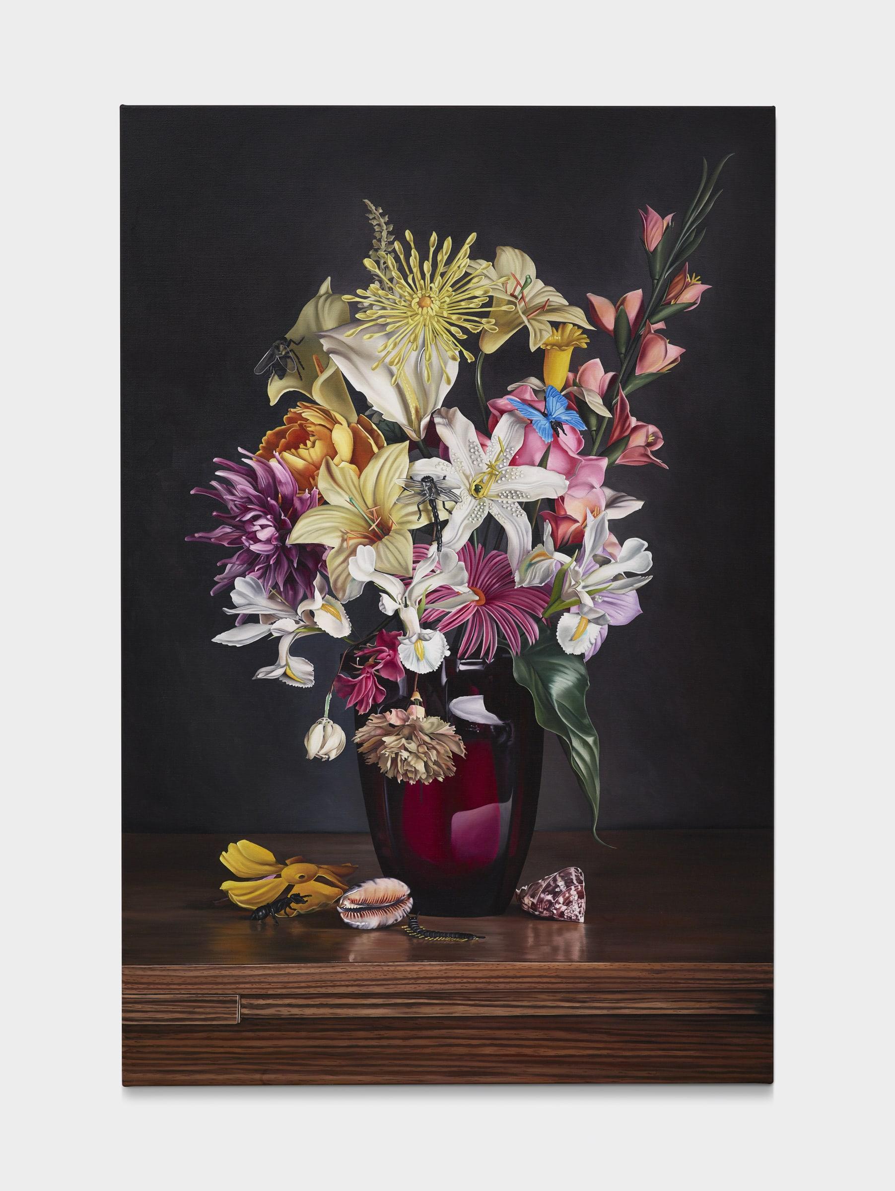 "<span class=""link fancybox-details-link""><a href=""/exhibitions/91/works/artworks11244/"">View Detail Page</a></span><div class=""artist""><strong>Till RABUS</strong></div><div class=""title""><em>Plastic flowers 1</em>, 2019</div><div class=""medium"">oil on canvas</div><div class=""dimensions"">150 x 100 cm<br>59 1/8 x 39 3/8 in</div>"