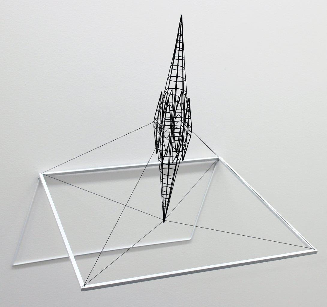 """<span class=""""link fancybox-details-link""""><a href=""""/exhibitions/58/works/artworks5013/"""">View Detail Page</a></span><div class=""""medium"""">Painted steel and stainless steel wire</div> <div class=""""dimensions"""">18.5 x 18.9 x 15 in<br />47 x 48 x 38 cm</div>"""