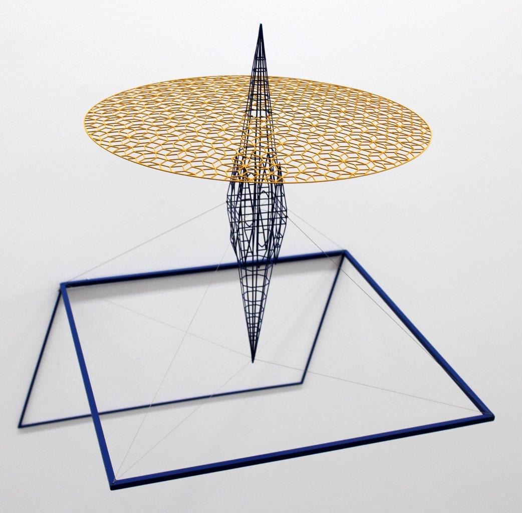 """<span class=""""link fancybox-details-link""""><a href=""""/exhibitions/58/works/artworks5015/"""">View Detail Page</a></span><div class=""""medium"""">Painted steel and stainless steel wire</div> <div class=""""dimensions"""">18.5 x 18.9 x 15 in<br />47 x 48 x 38 cm</div>"""