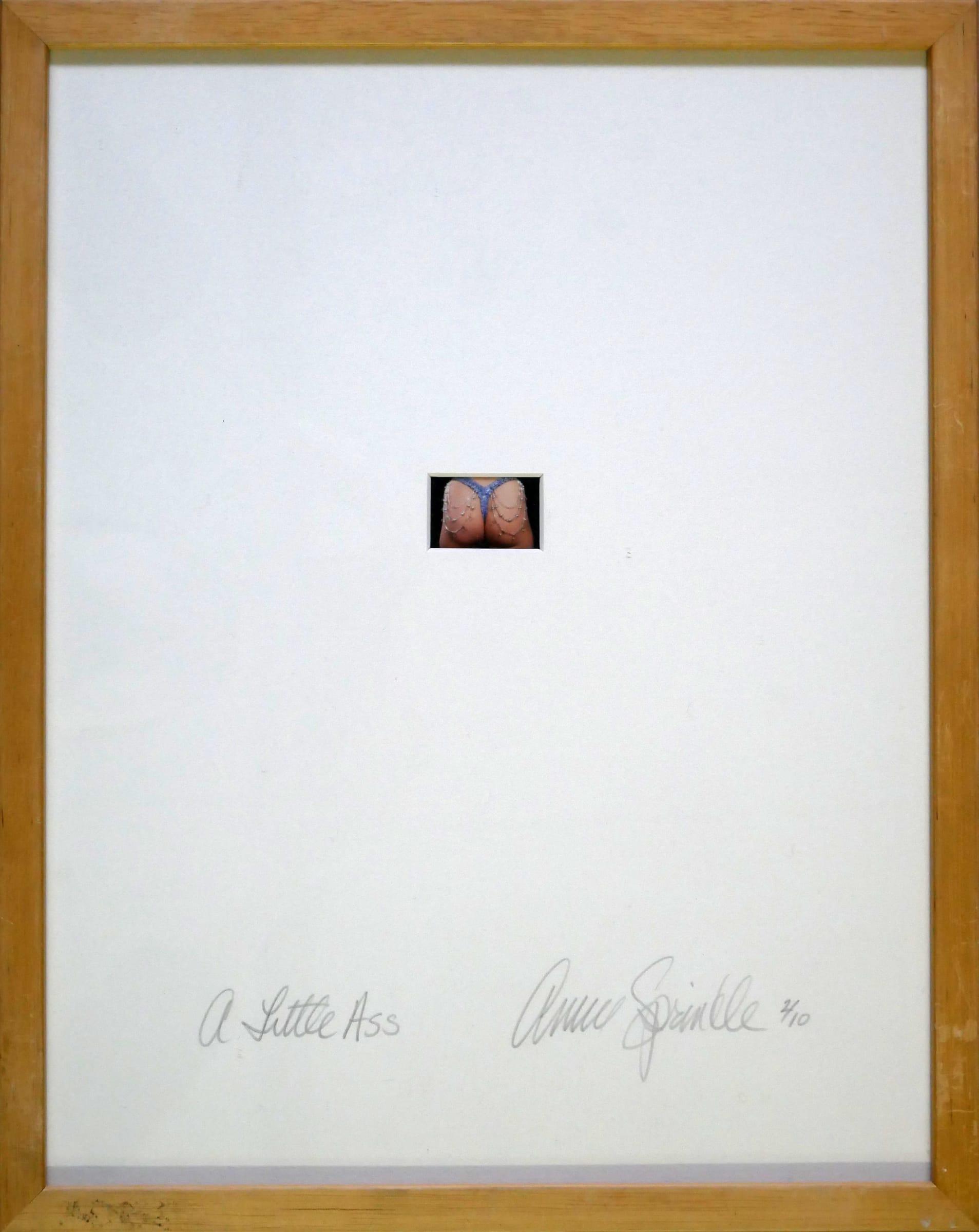 "<span class=""link fancybox-details-link""><a href=""/artists/113-annie-sprinkle/works/1337/"">View Detail Page</a></span><div class=""artist""><strong>Annie SPRINKLE</strong></div> <div class=""title""><em>A little ass</em>, 1999</div> <div class=""medium"">C-print on card board</div> <div class=""dimensions"">2 x 3.3 cm<br /> </div> <div class=""edition_details"">Edition of 10: this is 2/10</div><div class=""copyright_line"">Copyright the artist </div>"