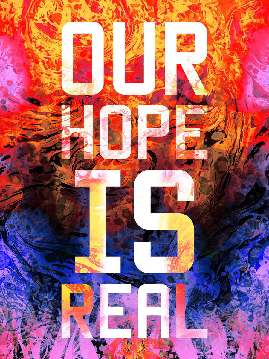 """<span class=""""link fancybox-details-link""""><a href=""""/artists/65-mark-titchner/works/8314/"""">View Detail Page</a></span><div class=""""artist""""><strong>Mark TITCHNER</strong></div> <div class=""""title""""><em>OUR HOPE IS REAL</em>, 2016</div> <div class=""""medium"""">ink print on Di-sub fabric</div> <div class=""""dimensions"""">240 x 180 cm<br /> 94 1/2 x 70 7/8 in</div>"""