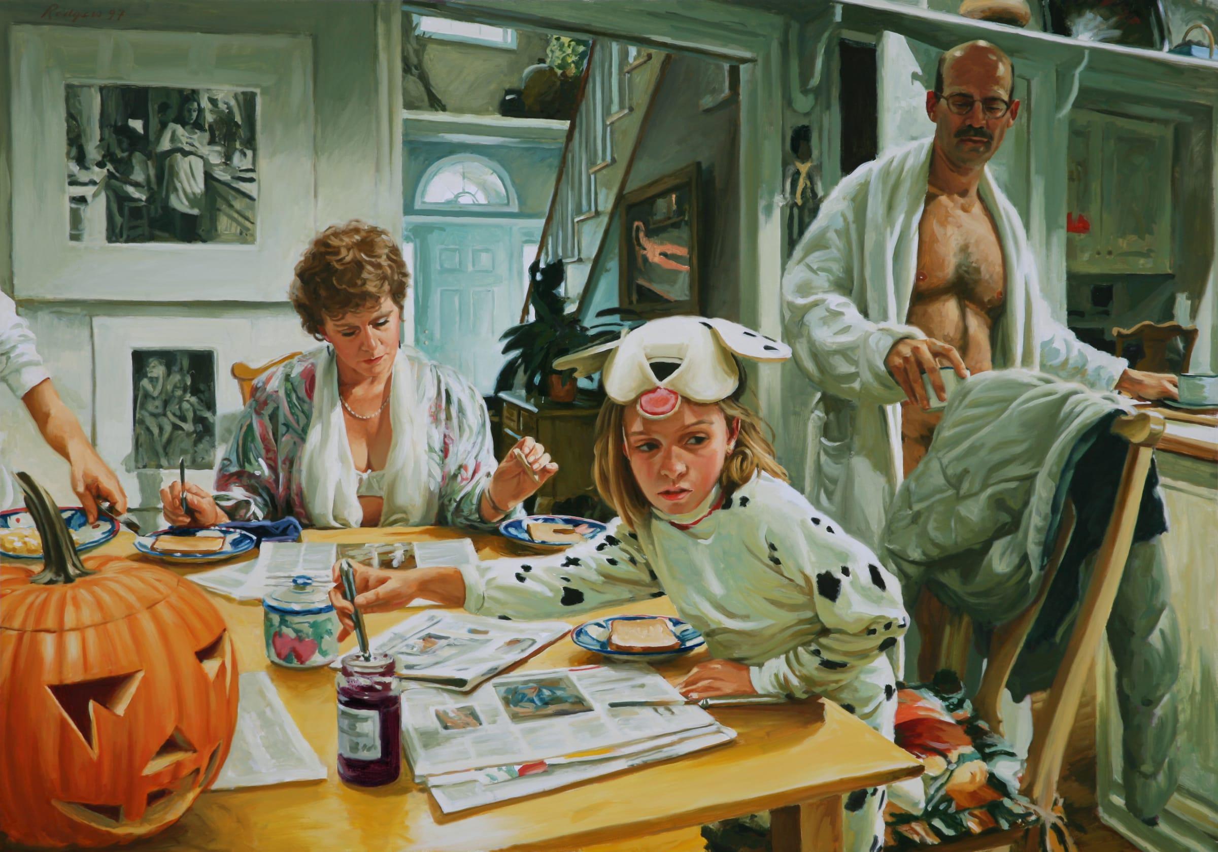 "<span class=""link fancybox-details-link""><a href=""/privateviews/706cde57ece7cfff2853da/12230/"">View Detail Page</a></span><div class=""artist""><strong>Terry RODGERS</strong></div> <div class=""title""><em> Halloween Breakfast</em>, 1997</div> <div class=""medium"">oil on linen</div> <div class=""dimensions"">137 x 196 cm<br /> 54 x 77 1/8 in</div><div class=""copyright_line"">Copyright The Artist</div>"