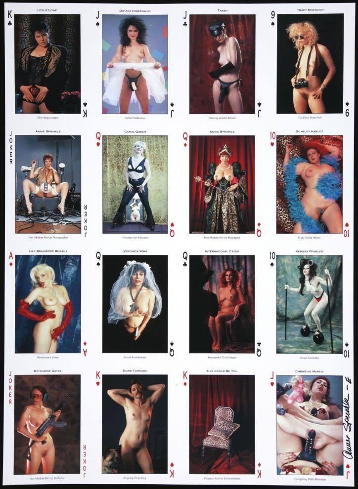 "<span class=""link fancybox-details-link""><a href=""/artists/113-annie-sprinkle/works/1353/"">View Detail Page</a></span><div class=""artist""><strong>Annie SPRINKLE</strong></div> <div class=""title""><em>Pleasure Activist Playing Cards (x4)</em></div> <div class=""medium"">Quadri print</div> <div class=""dimensions"">58 x 42 cm<br /> 22 7/8 x 16 1/2 in</div> <div class=""edition_details"">G</div>"