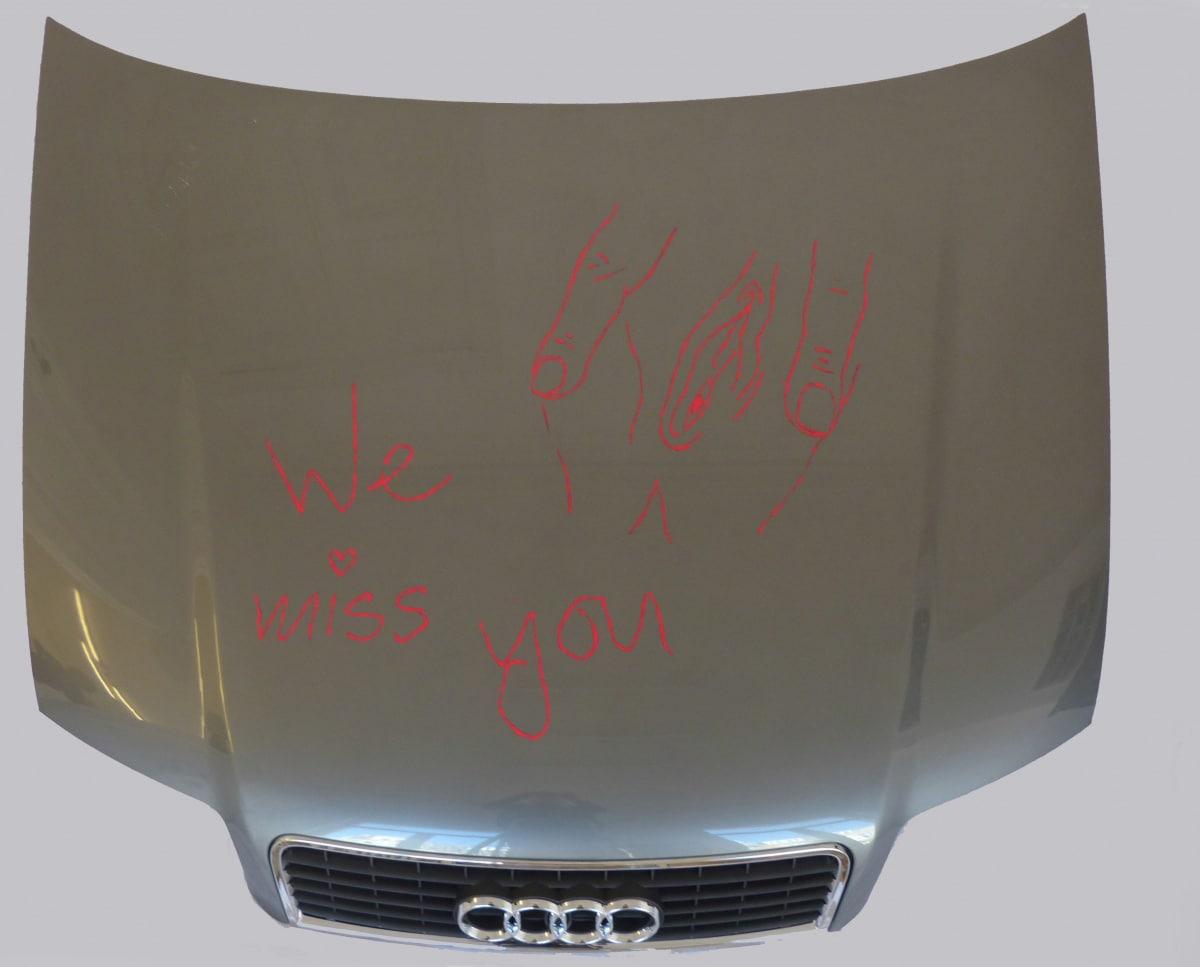 "<span class=""link fancybox-details-link""><a href=""/artists/45-frances-goodman/works/5069/"">View Detail Page</a></span><div class=""artist""><strong>Frances GOODMAN</strong></div> <div class=""title""><em>We miss you</em>, 2012</div> <div class=""medium"">Rivetted car bonnet (Audi), nail polish</div><div class=""copyright_line"">copyright the Artist</div>"