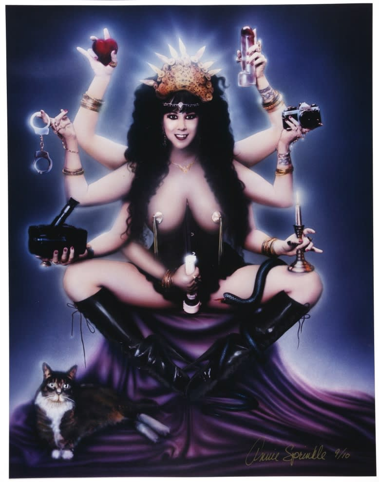 "<span class=""link fancybox-details-link""><a href=""/artists/113-annie-sprinkle/works/1341/"">View Detail Page</a></span><div class=""artist""><strong>Annie SPRINKLE</strong></div> <div class=""title""><em>Sex Goddess</em>, 1995</div> <div class=""medium"">C-print</div> <div class=""dimensions"">48 x 37 cm<br /> 18 7/8 x 14 5/8 in</div> <div class=""edition_details"">8/10 (8)</div>"