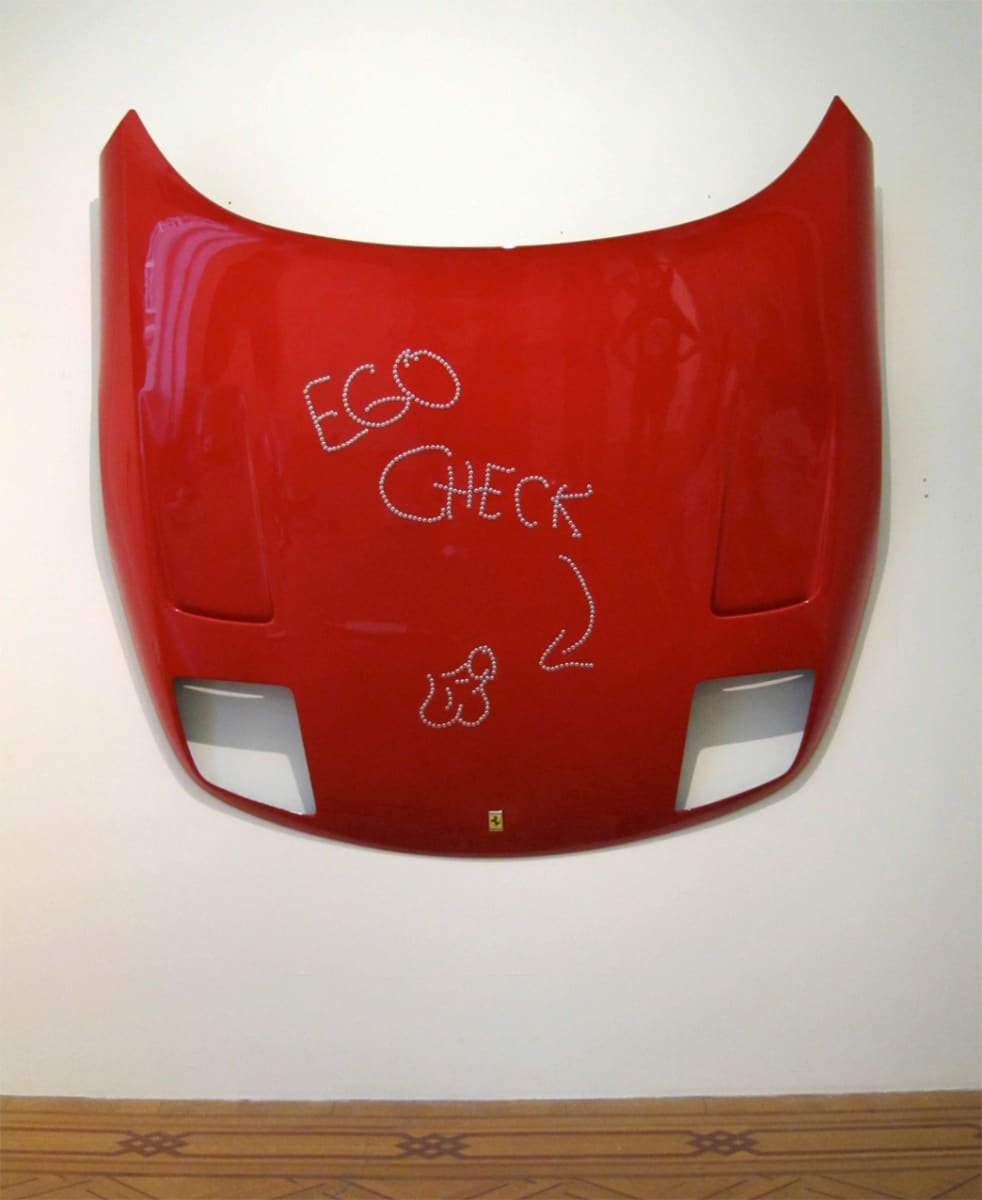 "<span class=""link fancybox-details-link""><a href=""/exhibitions/91/works/artworks4905/"">View Detail Page</a></span><div class=""artist""><strong>Frances GOODMAN</strong></div><div class=""title""><em>Ego check</em>, 2012</div><div class=""medium"">Rivetted Ferrari car bonnet</div><div class=""dimensions"">175 x 90 x 30 cm<br>68 7/8 x 35 3/8 x 11 3/4 in</div>"