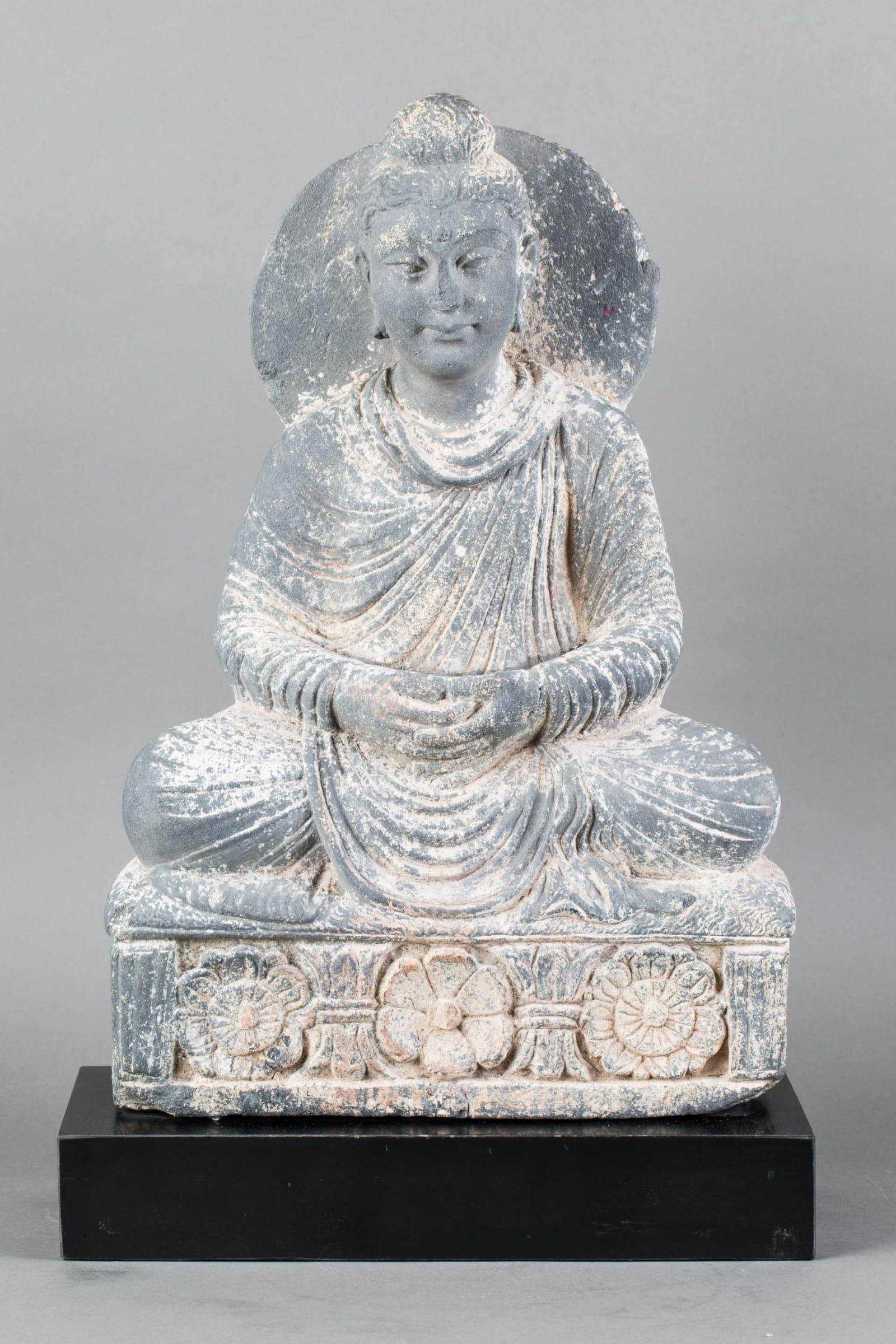 Schist Stone Gandhara Statue Of A Seated Buddha 200 Ce 600 Ce Barakat Gallery