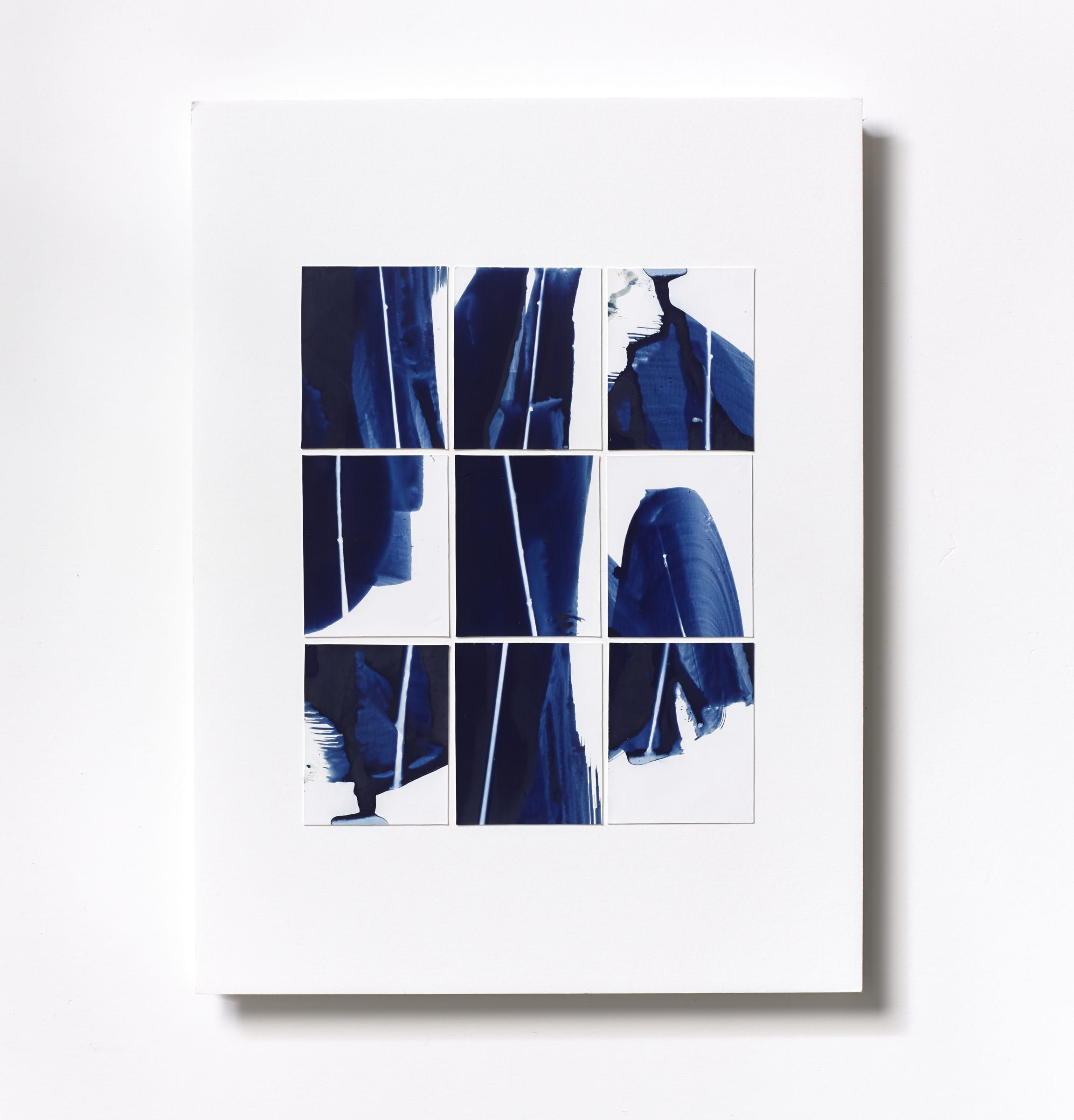 "<span class=""link fancybox-details-link""><a href=""/content/feature/119/artworks577/"">View Detail Page</a></span><div class=""medium"">Cyanotype Collage of nine hand-painted 2 7/8"" x 1 7/8"" cyanotype photograms on a 12 x 9 inch 8-ply museum board<br /> Print only<br /> Unique</div> <div class=""dimensions"">30.5 x 22.9 cm<br /> 12 x 9 in</div>"