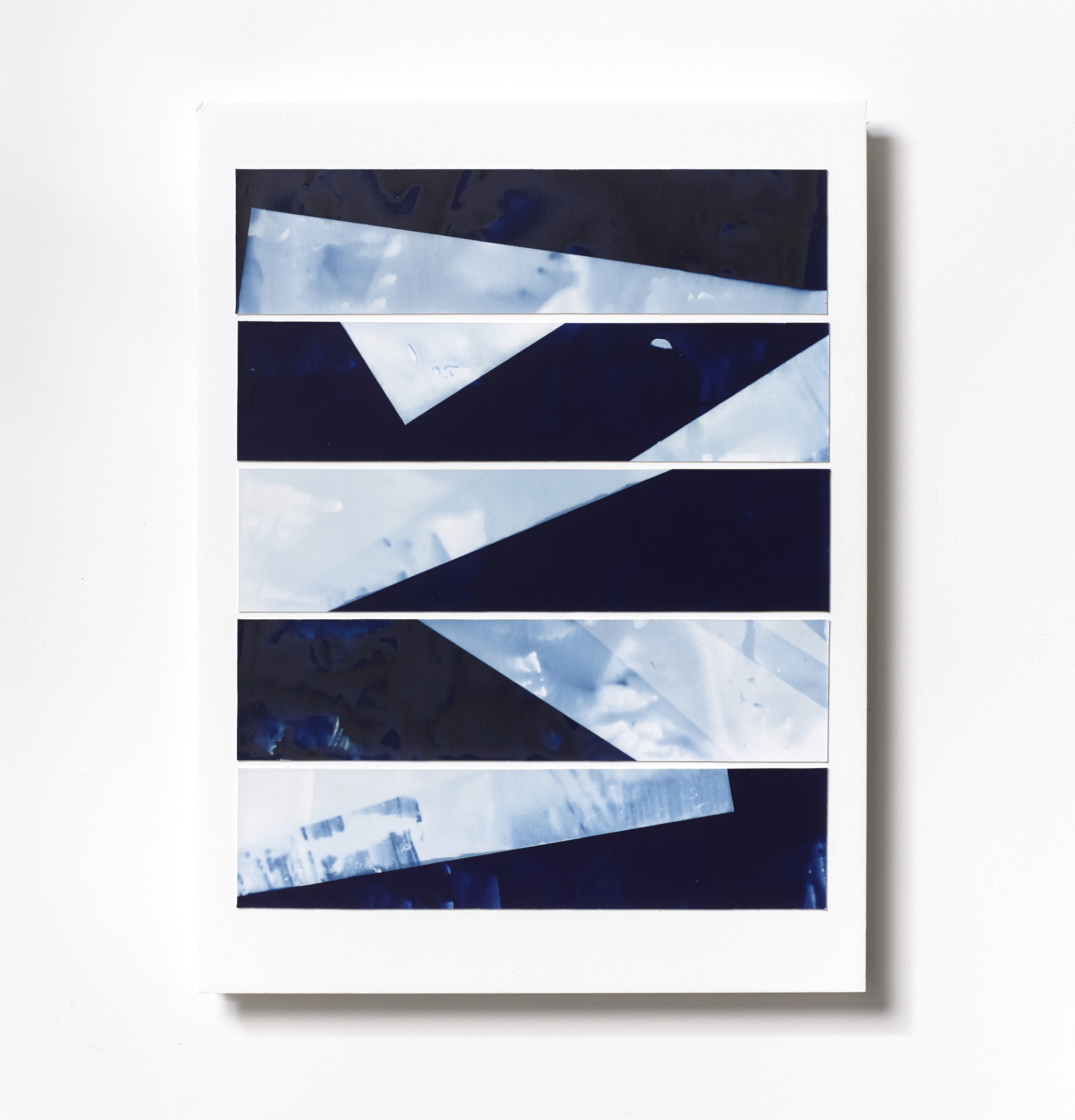 "<span class=""link fancybox-details-link""><a href=""/content/feature/120/artworks564/"">View Detail Page</a></span><div class=""medium"">Cyanotype Collage of five handpainted 1 3/4"" x 7 7/8"" cyanotype photograms on a 12 x 9 inch 8-ply museum board<br /> Print only<br /> Unique</div> <div class=""dimensions"">30.5 x 22.9 cm<br /> 12 x 9 in</div>"