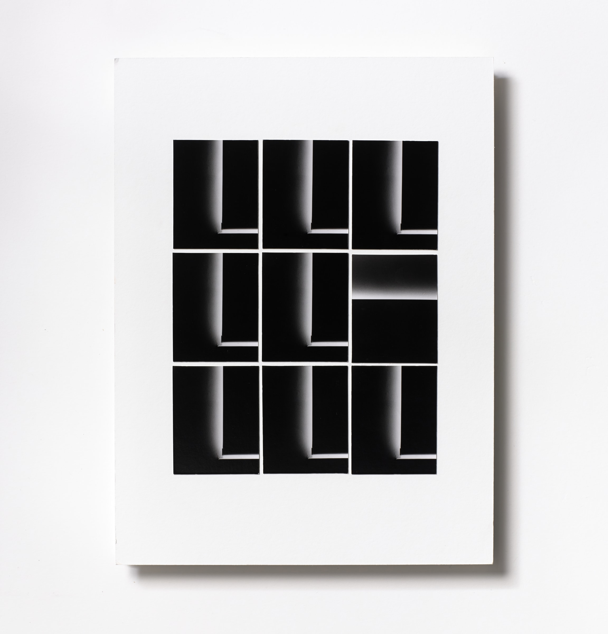 "<span class=""link fancybox-details-link""><a href=""/content/feature/114/artworks550/"">View Detail Page</a></span><div class=""medium"">Silver Gelatin Photogram Print Collage of nine handmade 2.5"" x 2"" silver gelatin prints from film negatives on a 12 x 9 inch 8-ply museum board<br /> Print only<br /> Unique</div> <div class=""dimensions"">30.5 x 22.9 cm<br /> 12 x 9 in</div>"