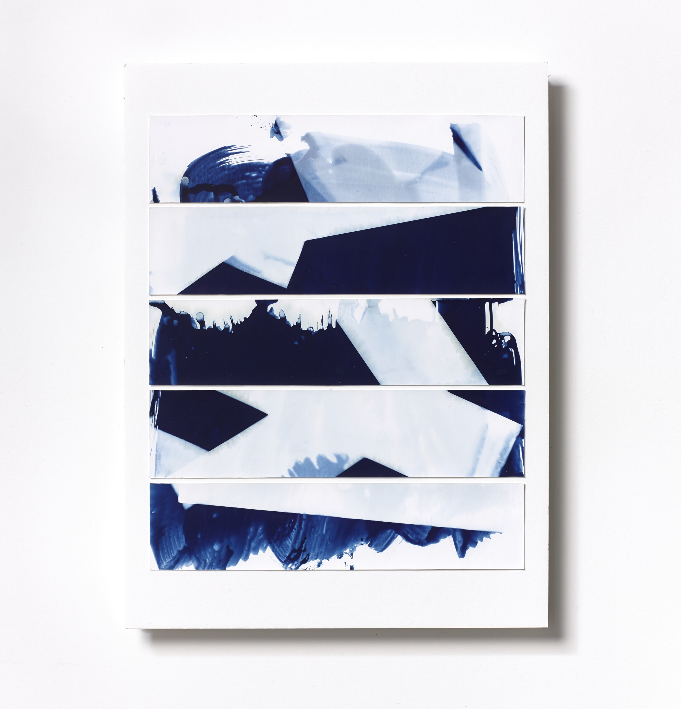 """<span class=""""link fancybox-details-link""""><a href=""""/content/feature/120/artworks562/"""">View Detail Page</a></span><div class=""""medium"""">Cyanotype Collage of five handpainted 1 3/4"""" x 7 7/8"""" cyanotype photograms on a 12 x 9 inch 8-ply museum board<br /> Print only<br /> Unique</div> <div class=""""dimensions"""">30.5 x 22.9 cm<br /> 12 x 9 in</div>"""