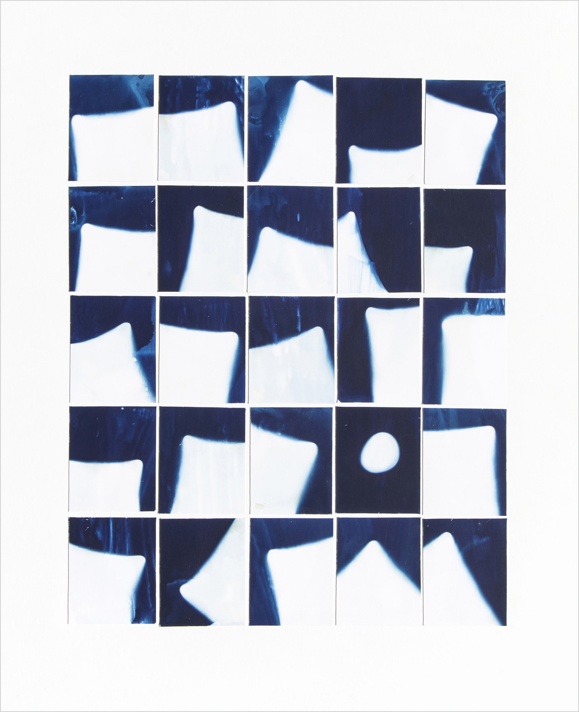 "<span class=""link fancybox-details-link""><a href=""/content/feature/160/artworks523/"">View Detail Page</a></span><div class=""medium"">Collage of twenty-five 2"" x 2.5"" cyanotype photograms on a 16"" x 20""<br /> museum board<br /> Print only<br /> Unique</div> <div class=""dimensions"">50.8 x 40.6 cm<br /> 20 x 16 in</div>"